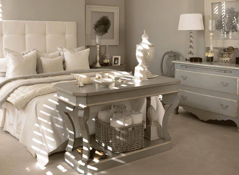 Modernes Landhausstil Schlafzimmer Grau Weiß Shabby Chic