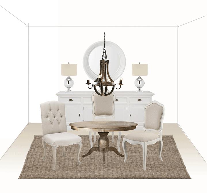 Modernes Landhausstil Esszimmer runder Tisch beige Stühle Buffet mit Leuchten