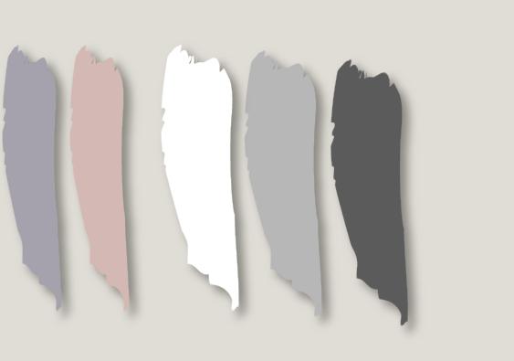 Modernes Wohnen Farbmuster Mauve Blush weiß grau