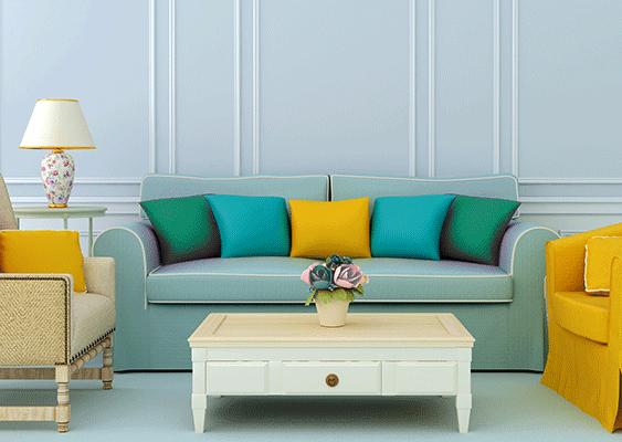 Farbgestaltung Wohnraum Wohnzimmer Couch Sessel Coffeetable