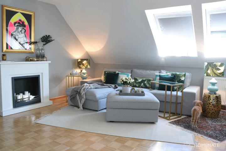 wohnzimmer glamour tropisch bananenblatt kamin mit kerzen