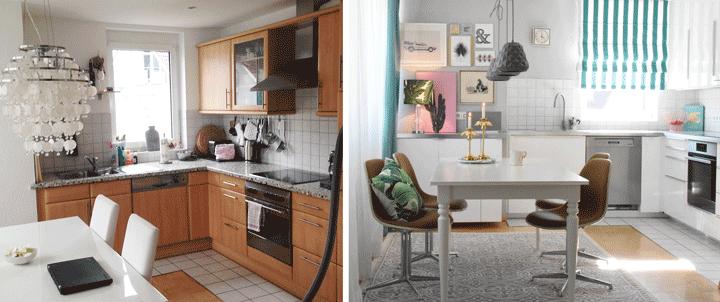 Vorher-Nachher Essbereich und Küche tropischer Stil