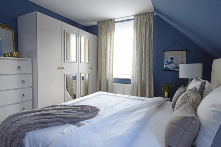 Schlafzimmer Vorhang Bett Schrank Taupe Spiegel