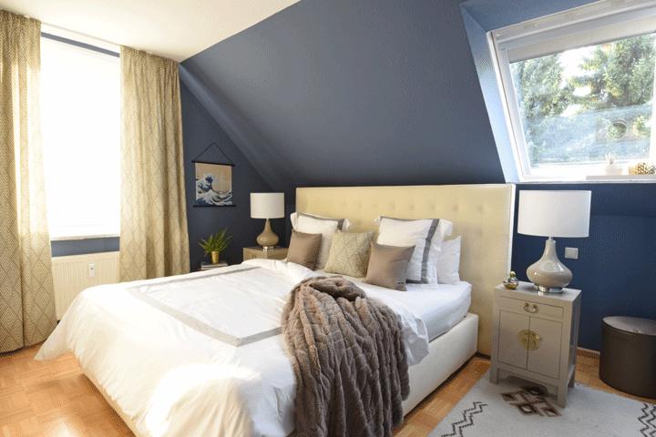 Schlafzimmer Dunkel Blau Taupe Elegant