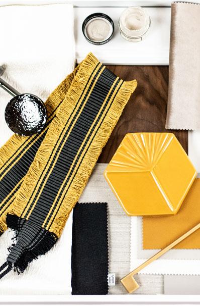 Wohnkonzepte Material und Farben collage oker fliesen holz tapete stoff
