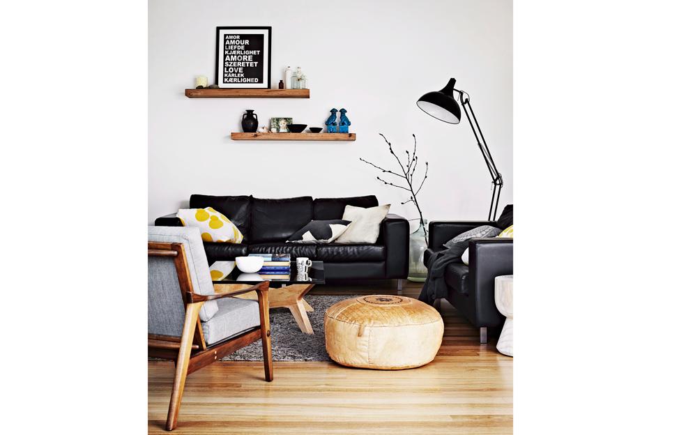 Wohnstile Modern wohnzimmer eames chair holz fellteppich schwarz couch