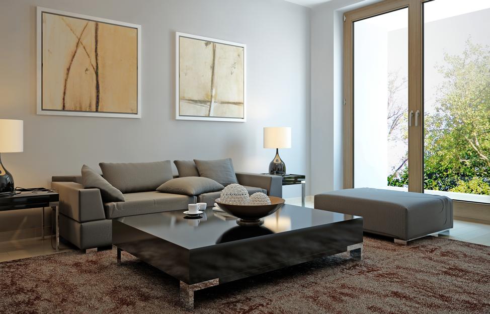 Wohnstile Modern wohnzimmer hell couch sessel teppich leuchten
