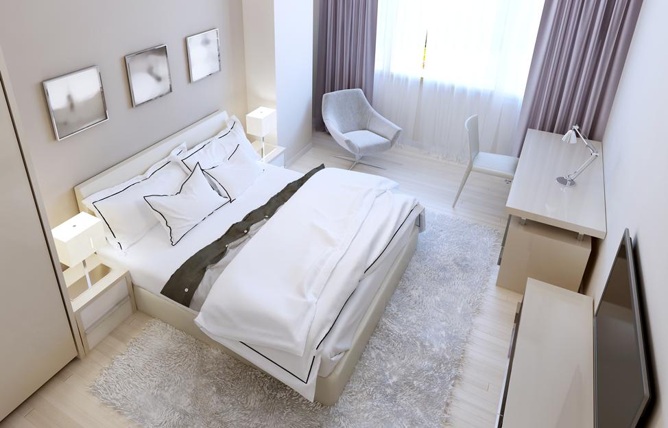 Wohnstile Modern schlafzimmer hell bett sessel vorhänge lila