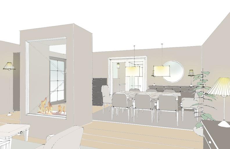Raumanalyse Rendering Skizze Interior Design Offener Wohn- und Essbereich Raumteiler Offenes Kamin Inneneinrichtung planen Wohnzimmer Essbereich