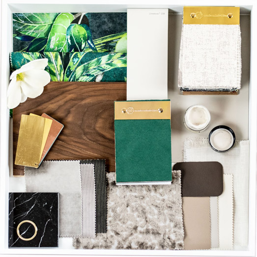 Materialcollage Interior Design Farben und Materialien Wandgestaltung Einrichtungsideen Inneneinrichtung planen