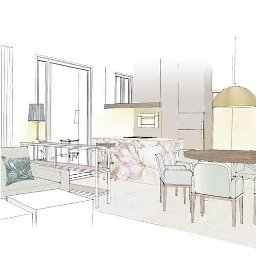 Kundenprojekt Einrichtungskonzept Interior Design Wohnzimmer Essbereich offenes Wohnkonzept Skizze Plan Grundriss